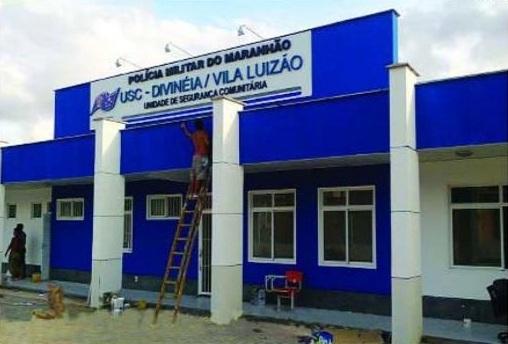 Operários dão últimos retoques na USC Divineia/Vila Luizão, primeira unidade policial do gênero no Maranhão, que terá ampla estrutura para combater o crime