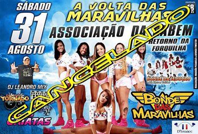 Cartaz anuncia shows do Bonde das Maravilhas, que seriam realizados em quatro  casas de evento da capital