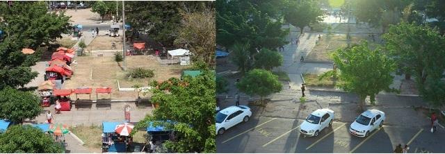 Visões da Praça do Pantheon antes e depois da desocupação: livre de barracas, ambiente fica mais aprazível
