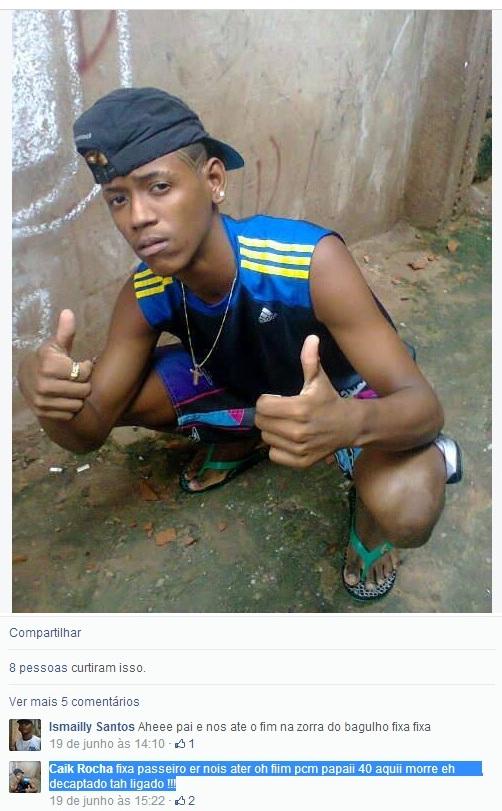 Caik e logo abaixo, grifada em azul, a ameaça postada por ele no Facebook contra os rivais do Bonde dos 40
