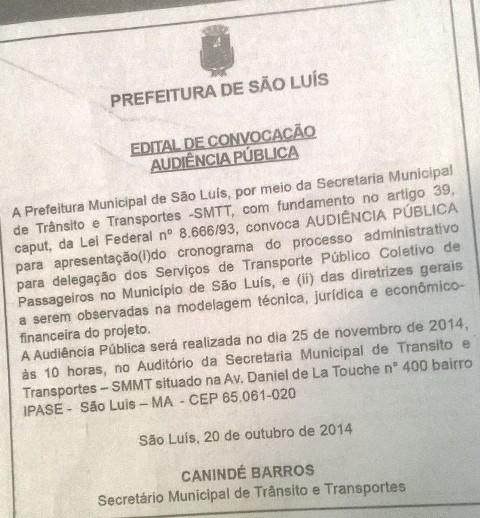 Por meio de aviso, Prefeitura convocou audiência para 25 de novembro, no auditório da SMTT