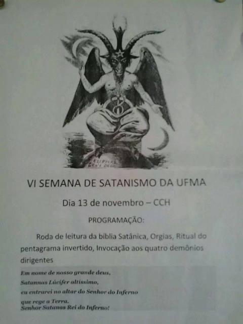 Cartaz apócrifo convida para a VI Semana de Satanismo da UFMA