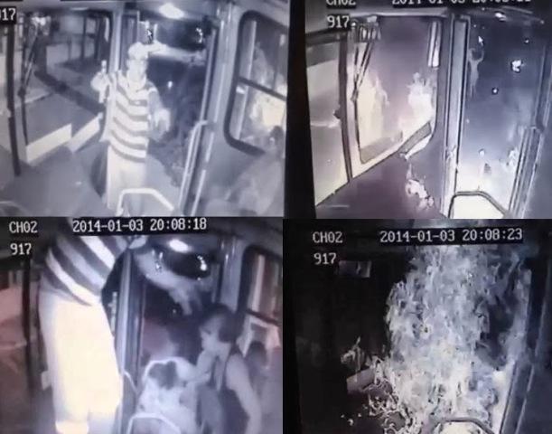 Imagens do incêndio do ônibus onde a menina Ana Clara viajava com a mãe e uma irmã