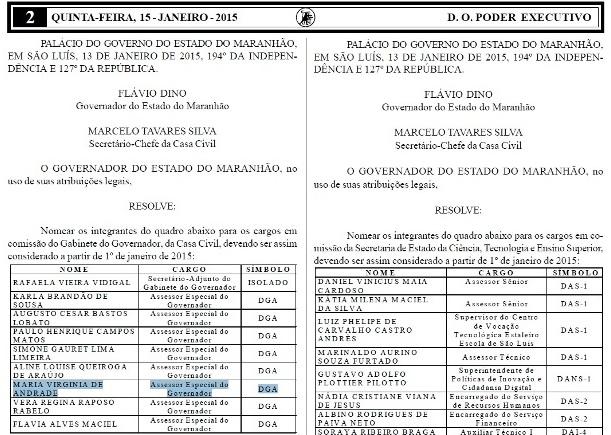 Nomeação da esposa de Chico (no destaque, em azul) foi publicada no último dia 15 Diário Oficial