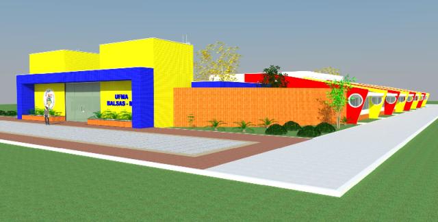 Maquete virtual do campus de Balsas, instalado em 2013 e situado em uma área de 120 hectares doada pela prefeitura local