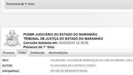 Flávio Dino também é autor de ação judicial contra o site de relacionamentos