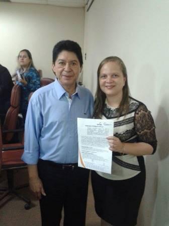 Secretária Carlas Sousa com o presidente da Fecomércio, José Arteiro