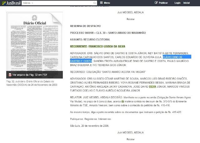 Diário eletrônio publicado no site Jusbrasil revela que Dino fez parte da banca que defendeu o então candidato