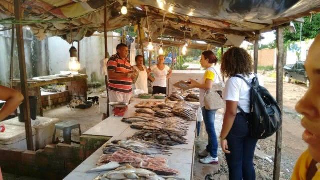 Técnicos da Semapa colheram informações sobre os feirantes que trabalham no Mercado do Maiobão