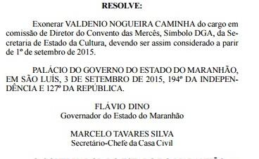 Ato de exoneração do diretor do Convento das Mercês, publicado dia 9 no Diário Oficial