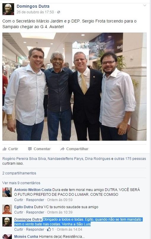 Dutra postou foto com Márcio Jardim e Sérgio Frota e fez desabafo ao responder comentário