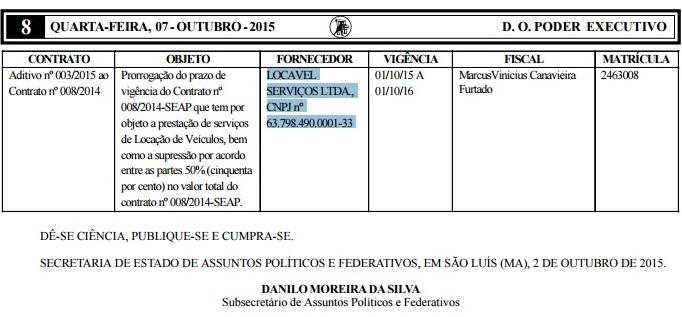 Portaria publicada no Diário Oficial revela aditivo ao contrato com a Locavel autorizado por subsecretário de Márcio Jerry