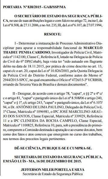 Portaria baixada pela SSP para investigar conduta do investigador Marcelo Thadeu Penha Cardoso