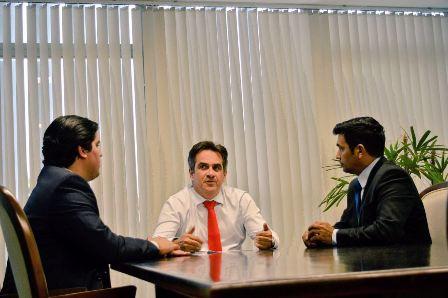 Deputado Wellington com o senador Ciro Nogueira, presidente nacional do PP, e o deputado federal André Fufuca