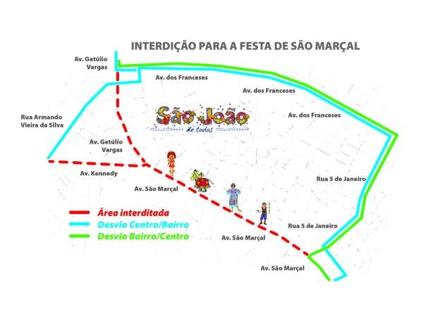 Mapa mostra desvio feito pela SMTT para homenagem a São Marçal, no João Paulo