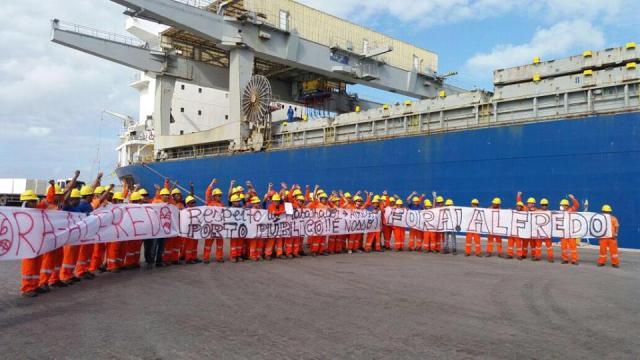 Protesto de estivadores afetou todas as operações do Porto do Itaqui até o início da tarde