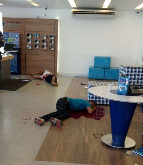 Bandido moreto e comparsa baleado em assalto frustrado à loja da TIM do Marcus Center