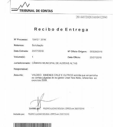 Ofício entregue por vereadores ao presidente do TCE, Jorge Pavão, pedindo envio da prestação de contas desaprovadas à apreciação da Câmara