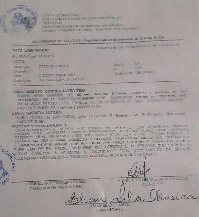 """Boletim de ocorrência registrado na Delegacia do Maiobão por eleitora chamada de """"gorda"""" por Núbia Dutra"""