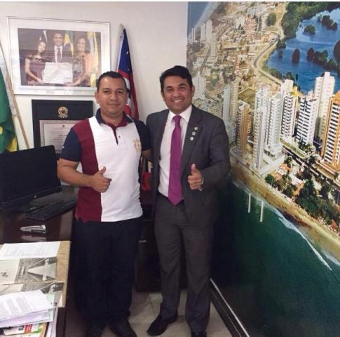 Neto Cruz com o deputado e candidato a prefeito de São Luís Wellington, que apoia sua eleição a vereador de Paço do Lumiar