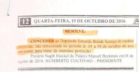 Licença de caráter particular tirada por Braide foi publicada na Assembleia