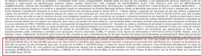 Decisão judicial proferida pelo juiz da comarca de Bacuri