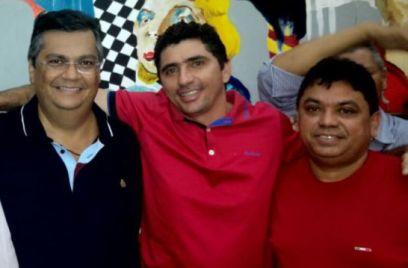 Jardel Miranda, entre Flávio Dino e Márcio Jerry, que o contemplaram mais uma vez com cargo