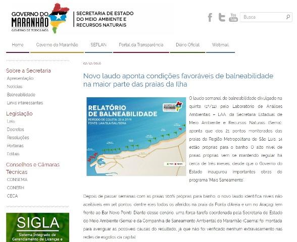 Matéria divulgada pelo governo Flávio Dino minimiza a grave situação das praias de São Luís