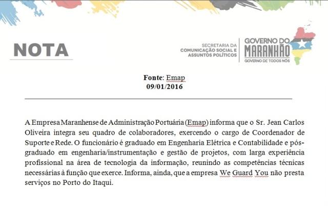 Nota encaminhada pela Emap à TV Mirante confirma que o dono do prédio alugado à Funac é servidor da Emap
