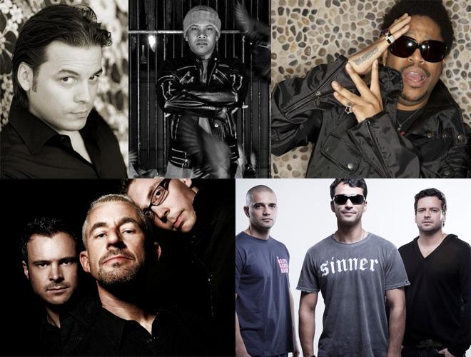 Em sentido horário: Tocadisco, Chuckie, Felix da Housecat, Above & Beyond e o trio brasileiro Life is a Loop. Line up de peso!