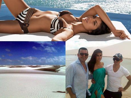 Juliana Martins; e as fotos abaixo, postadas no seu Facebook: uma dos lençóis e outra, com o stylist Cesar Fassina e o beauty artist Jayme Vasconcellos.