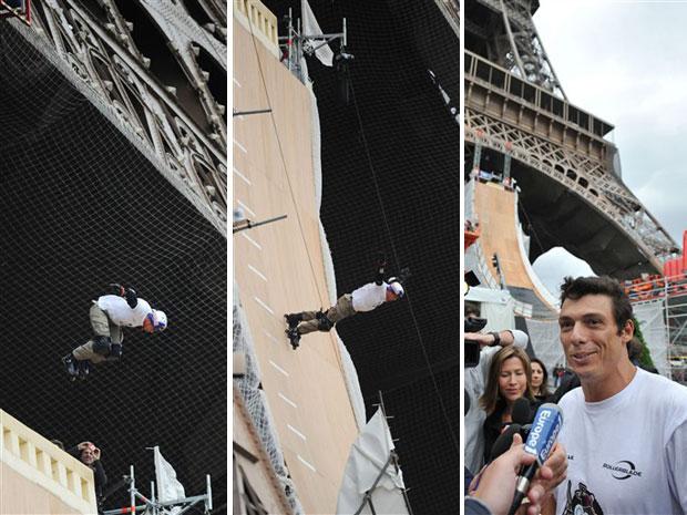 Taig Khris salta do primeiro andar da Torre Eiffel (Foto: AFP)