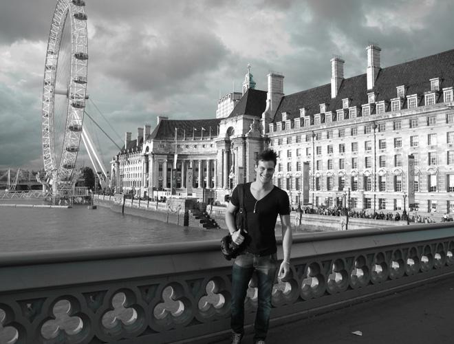Igor Monteiro, em Londres, onde modelou por dois meses e aprimorou seu inglês.