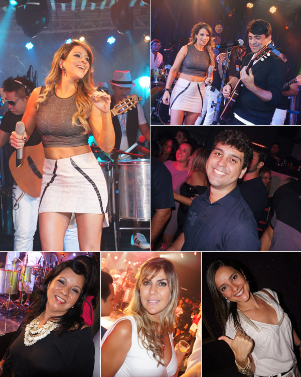 Fabrícia em ação/ e durante o dueto com Pepê Jr / No gargarejo, seu esposo Tavinho Silveira / a mãe Uiaraci Almeida / a amiga de longas datas Virna Fecury / e hotspotters como Raíssa Murad.