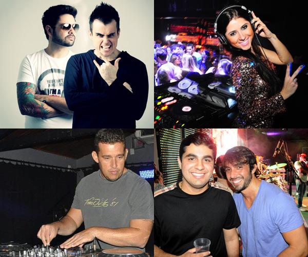 Da esquerda para a direita: projeto BPM, DJs Camila Peixoto e Henrique Carvalho e o organizadore do evento, Pedro Moura e Eduardo Neves. (Fotos: Reprodução / Divulgação ? Carlos Netiar)
