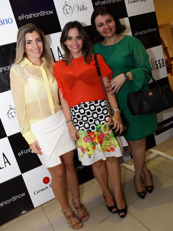 Lara Moreira, Rafaela Albuquerque e Glenia Gentil, trio à frente do eFashion Show (Foto: Miguel Viegas).