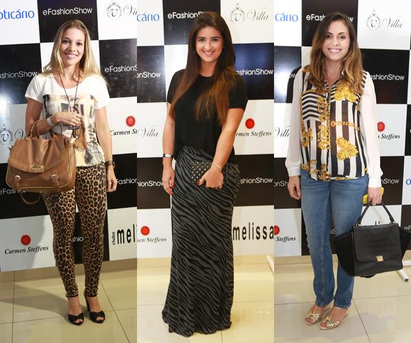 Rafaela Moreira e Milena Estrela optaram por estampa animal para compor a produção / Já Adriana Sarney Caminha, sempre casual, foi de camisa estampada e jeans.