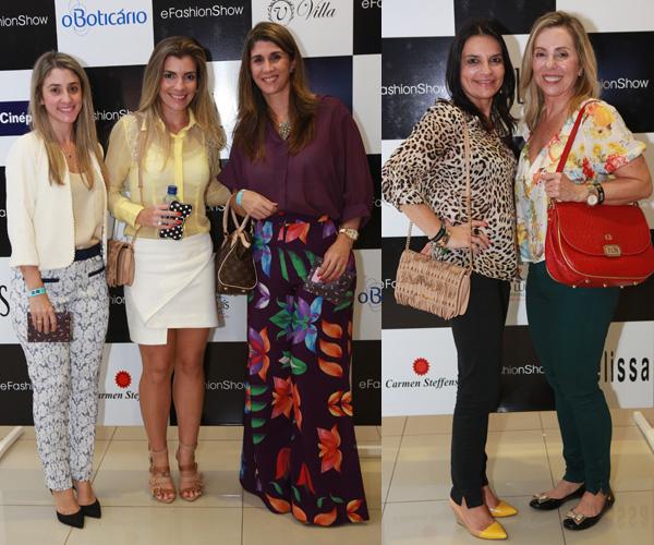 Lara Moreira entre Larissa Burnett e Melissa Marão Fernandes / e Maluda Fialho e Clara Gurjão Moreira (Fotos: Marco Salles)