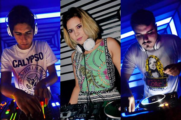 Vinnie, Alê Castro e Rivvs, trio que comanda a discotecagem da balada Caos. (Fotos: Tieza Cutrim/Facebook do Hajalexotan)