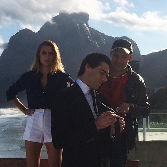 O trio novamente em ação, na locação de tirar o fôlego com vista para a praia de São Conrado, um dos postais do Rio (Foto: Oton Lima)
