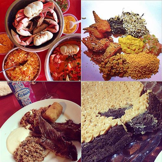 """Nosso famoso caranguejo """"toc-toc"""" / um legítimo prato ludovicense: arroz de batiburu, cuxa refogado, patinha de caranguejo a milanesa, camarão com crosta de gergelim, vatapá, sururu, farofa de dendê e vinagrete / Carne de sol, paçoca e nosso Guaraná Jesus / e a torta brownie de D. Tereza Murad - leia-se Zé Pereira e Maria Amêndoa (Fotos: Instagram)"""