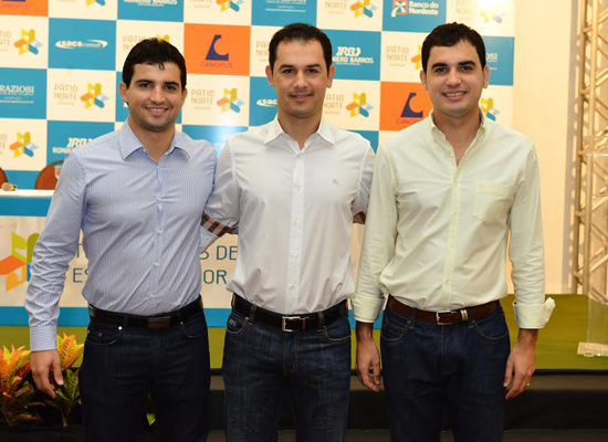 O trio que comanda o empreendimento do Pátio Norte Shopping; Álvaro, Parmênio Jr e Thiago Carvalho, anfitriões do próximo sábado (16). (Foto: Assessoria)