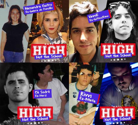 Olha só que divertido. As artes usadas pelos DJs da balada High (Not The) School: Alessandra Castro, Vinícius Ferreira, Caio Sodré e Rivandré Basileu.
