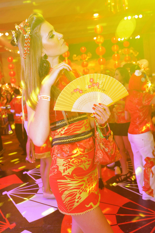 Gueixa estilizada: Bianca Klamt no almoço de carnaval do PH Revista (Foto: Paulo Soares)
