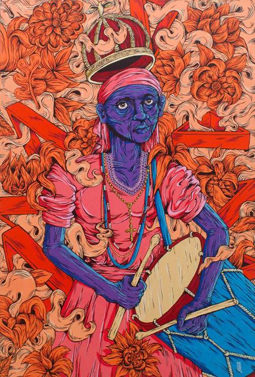 """Entre as ilustrações que compõem """"Emaranhando"""", está a tela """"O Soar da Caixeira"""". Acrílica sobre tela (80x116cm) de autoria de Will Barros"""