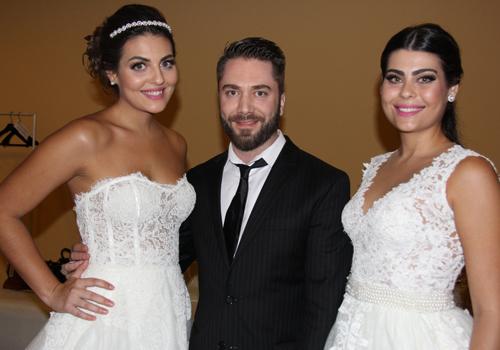 Lucas Anderi desfilou seus belos vestidos de noiva no encerramento do evento. Na foto, ele aparece ao lado das irmãs Rafaela e Lucaiana Braga, que estavam entre as belas ludovicenses que compuseram seu desfile.