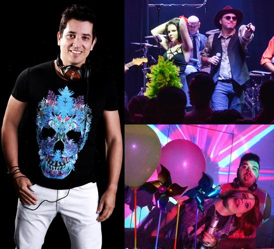 Em sentido horário, DJ Macau; banda Roqueville; e RiVvs e Carol Vieira. Atrações da Fuleragem Detox. (Foto/ Reprodução)