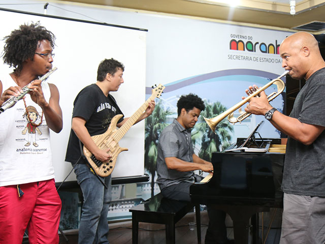 Jam Session em oficina de música no Lençóis Jazz e Blues Festival, em São Luís. Foto: Taciano Brito