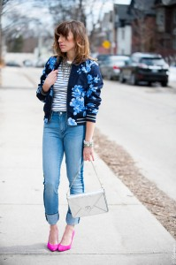 Toronto-Street-Style-Fashion-Gap-Blue-Flower-Bomber-Pink-Pointed-Pumps