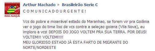 Torcedor do Vila Nova-GO faz comentário xenofóbico contra maranhenses